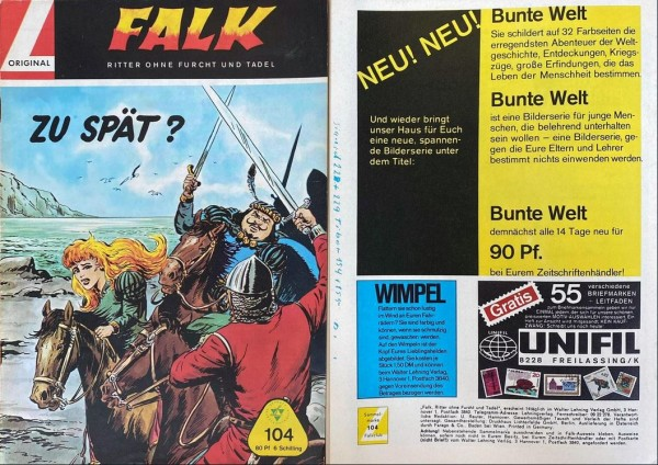 Falk (Lehning, Gb.) Variante Schriftzug auf Rückseite Nr. 104