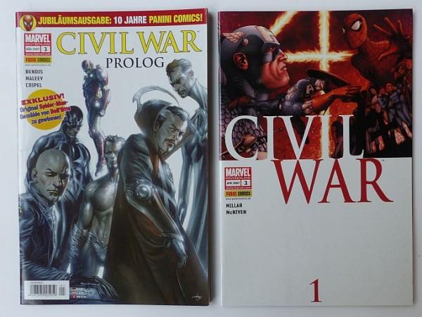 Civil War (Panini, Gb.) Nr. 1-7 kpl. + Prolog (Z1)